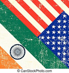 USA and indian grunge Flag