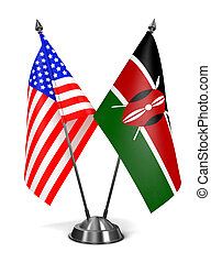 USA and Kenya - Miniature Flags. - USA and Kenya - Miniature...