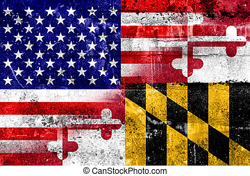 USA and Maryland State Flag painted on grunge wall