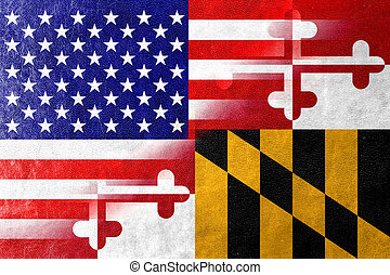 USA and Maryland State Flag painted on leather texture