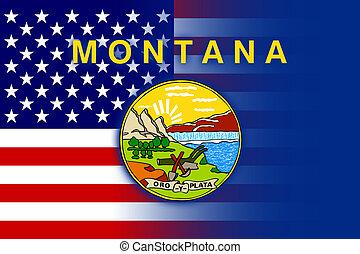 USA and Montana State Flag