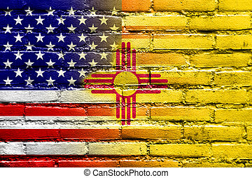 USA and New Mexico State Flag painted on brick wall