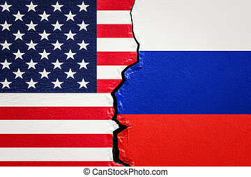 USA and Russia conflict concept, 3D rendering