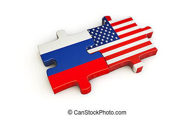usa and russia partnership jigsaw puzzle 3d illustration
