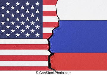 USA and Russia, political conflict concept. 3D rendering