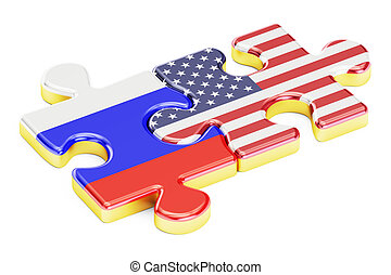 USA and Russia puzzles from flags, relation concept. 3D rendering