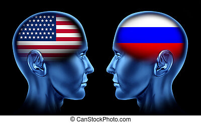 U.S.A and Russia trade relations symbol represented by two faces head to head in cooperation and competition