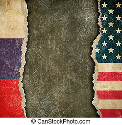 USA and Russian torn paper flags. Break of diplomatic relations.