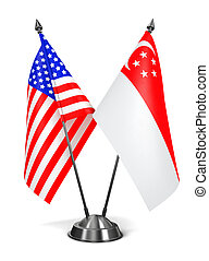 USA and Singapore - Miniature Flags. - USA and Singapore -...