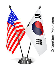 USA and South Korea - Miniature Flags. - USA and South Korea...