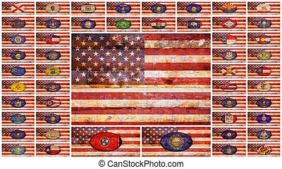 USA and states flags.