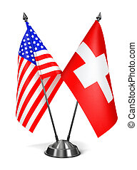 USA and Switzerland - Miniature Flags. - USA and Switzerland...