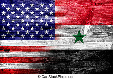 USA and Syria Flag painted on old wood plank texture