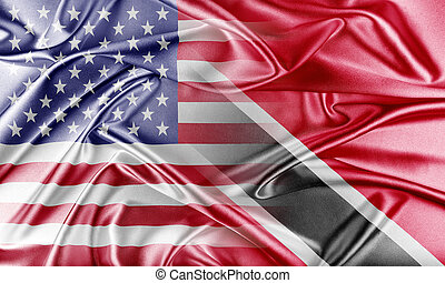 USA and Trinidad and Tobago. Relations between two countries. Conceptual image.
