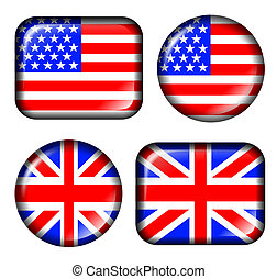 USA America and english britain flag with glass effect, isolated in white, high resolution JPG image.