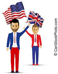 usa and uk flag waving people