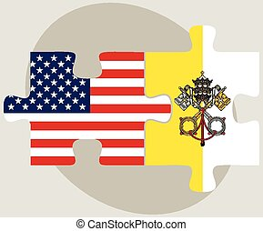 USA and Vatican City Flags in puzzle - Vector Image - USA...