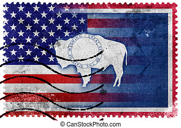 USA and Wyoming State Flag - old postage stamp