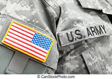 usa, armia, u.s., łata, bandera, solder's, jednolity