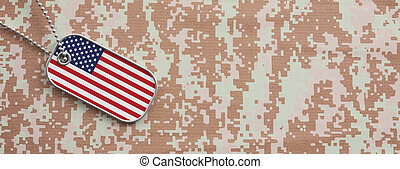 USA army concept, American flag identification tag on digital camouflage fabric. 3d illustration