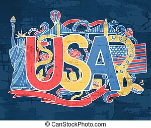 USA art abstract hand lettering and doodles elements background. Vector illustration for colorful template for you design, web and mobile applications.
