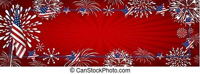 USA background design of america flag and fireworks with line frame vector illustration
