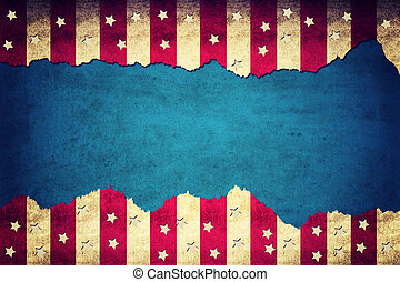 USA background - Grunge ripped paper USA flag pattern