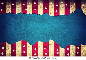 USA background - Grunge ripped paper USA flag pattern