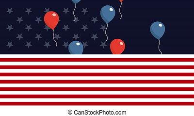 usa, ballons, main-d'œuvre, drapeau, hélium, jour