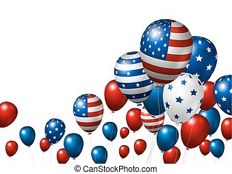 usa, balloon, drapeau, américain, vecteur, conception, fond,...