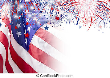 usa bandera, fajerwerk, 4, tło, lipiec, dzień, niezależność