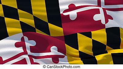 usa., bandera, ilustración, fondo., estado, patriótico, maryland, 3d