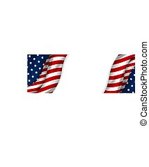 USA banner design of american flag on white background with copy space