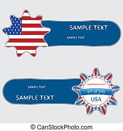 USA banner design set, vector illustration