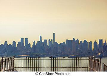usa, belvárosi, láthatár, york, város, új