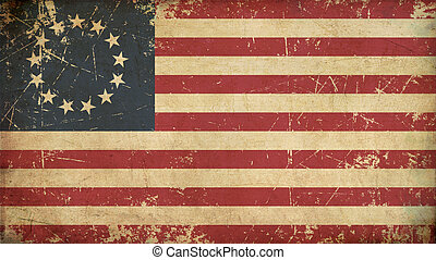 USA Betsy Ross Aged Flat Flag - Illustration of an rusty,...
