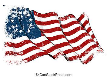 Waving USA Betsy Ross flag under a grunge texture layer. 6.8 x 4.5 Mpxl JPG. ENJOY !!!