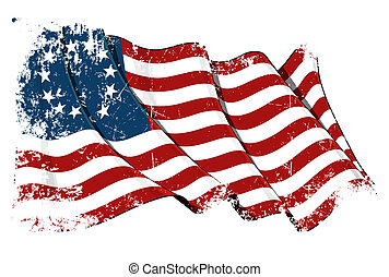 USA Betsy Ross flag Grunge - Waving USA Betsy Ross flag...