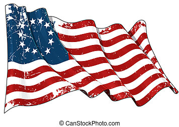 USA Betsy Ross flag Scratched - Waving USA Betsy Ross flag...