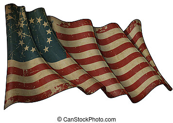 Illustration of a Waving aged Betsy Ross American flag