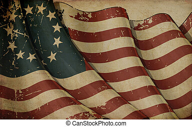 Illustration of a rusty US Betsy Ross Ensign printed on old paper