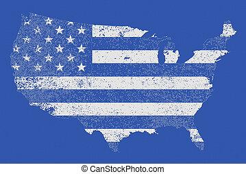 USA Blue Outline and Flag
