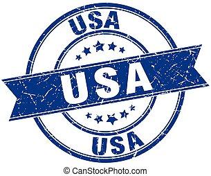 usa blue round grunge vintage ribbon stamp