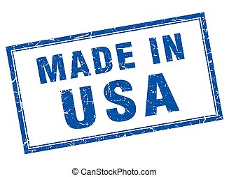 usa blue square grunge made in stamp