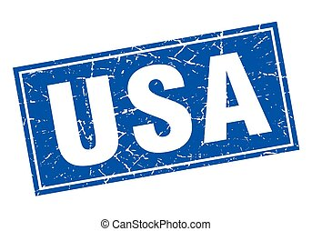 usa blue square grunge vintage isolated stamp