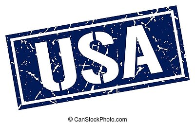 usa blue square stamp