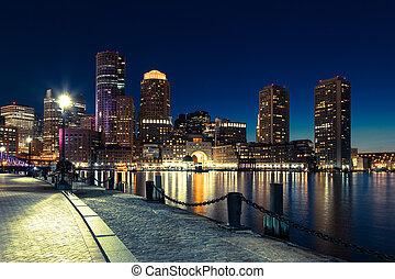 usa, boston, -, skyline, massachusetts, nacht