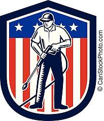 usa, bouclier, américain, retro, drapeau, pression, lavage