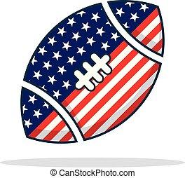 usa, boule football, icône, à, état uni, couleur pavillon