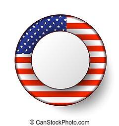 usa, bouton, drapeau